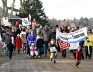 Hundreds participated in Walk the Block rallies in Hillsborough and Riverside-Albert (seen here) in Albert County in early 2013 to show their opposition to the granting of approvals for oil and gas development in the county and province. Hillsborough Village Council passed a resolution in March calling upon the government of New Brunswick to stop all approved gas and oil activities within 4 km of village limits and 4 km from water supplies, both above and below ground. According to Minister of Energy and Mines Craig Leonard, there are no justifications to cease oil and gas activity at this point. Photo by Deborah Carr.