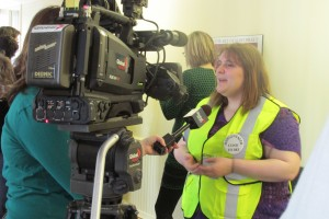 A clinic escort speaking to the media about the need for the access to abortions for women. Photo by Tracy Glynn.