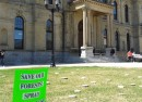 legislature lawn with spray Irving sign