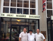 Donald Bowser, Charles Theriault and Rod Cumberland (left to right) at the Great Resource Giveaway on July 27 in Fredericton. Photo by Caroline Lubbe-D'Arcy.