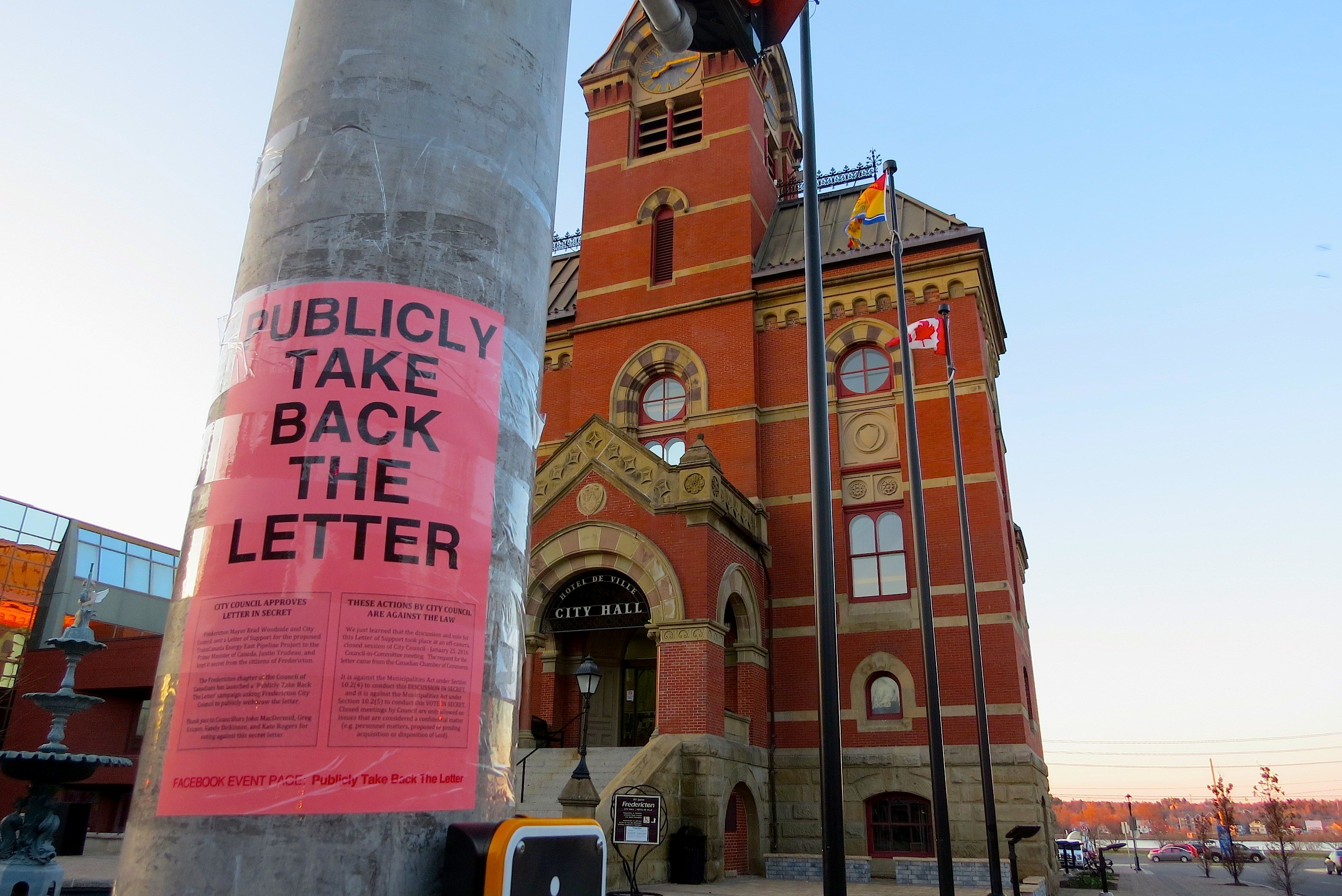 Fredericton takes back letter in support of energy east for Canadian chambre of commerce