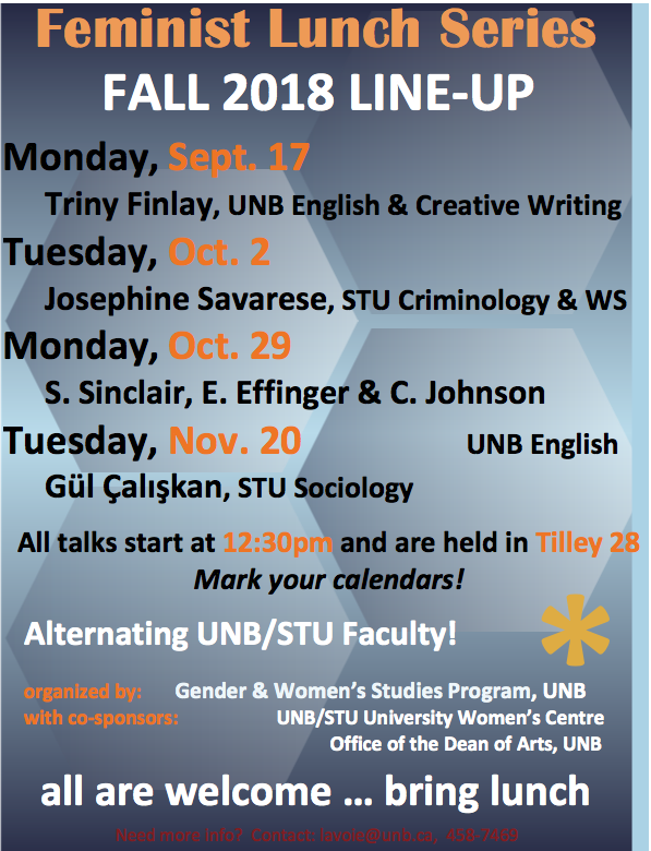 2018 Feminist Lunch Series - Josephine Savarese, STU Criminology & WS @ Tilley Hall, Room 28 at UNB | Fredericton | New Brunswick | Canada