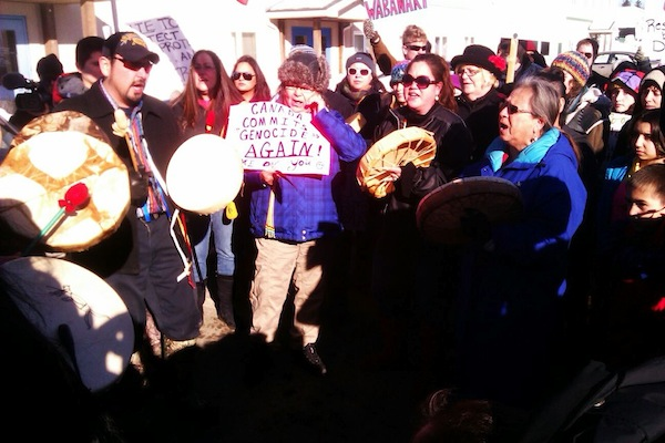 Alma Brooks and others gather in an action in support of Idle No More at Fredericton MP Keith Ashfield's office on Friday, Jan. 11, 2013. Photo: David Coon.