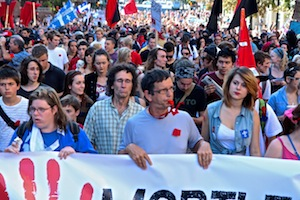 Quebecois students lead a province-wide demonstration on August 22, 2012. Photo by WNV/Zachary Bell.