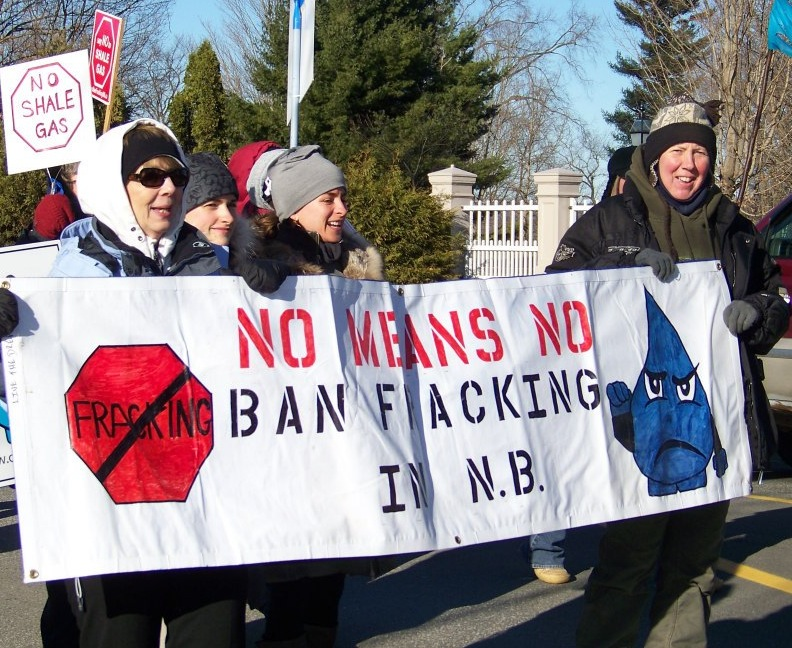 Rally against fracking for shale gas at the opening session of fall 2012 sitting of the N.B. Legislature. Photo by Stephanie Merrill.