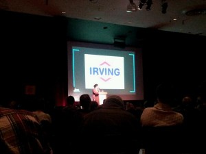 """I've gotta give a shout out to this monolith of destruction,"" said Amanda Lickers while showing a picture of the Irving logo. Photo by Amara Possian."