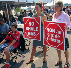Prominent among the demonstrators at New Brunswick Day in Cocagne this year were Kent South Green Party candidate Tina Beers (right), who is also Chairperson of the Harcourt Local Service District, and Rebeka Frazier-Chaidson (left) who is expected to be nominated for the Greens in Kent North Thursday night in St. Louis de Kent. Photo by Mike McKinley.